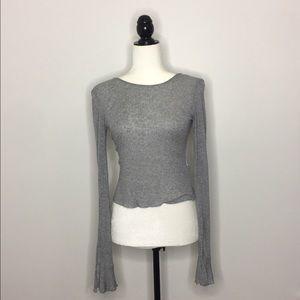 Zara Basics Crop Top with Flared Sleeves